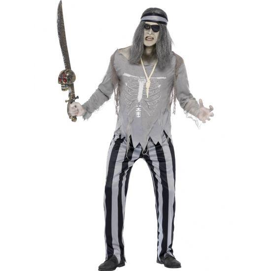 Piraten spook kostuum voor heren. Grijs piraat geest kostuum voor heren, inclusief broek, shirt en hoodband.