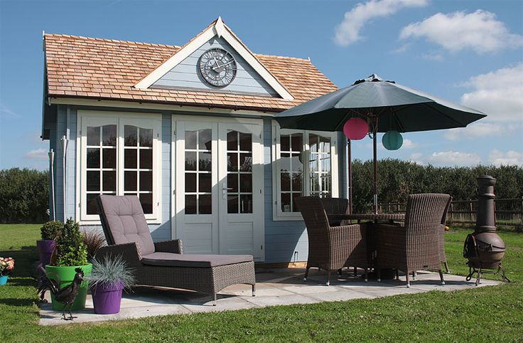 How about a beautiful clock-house style summer room for the garden? This Wye summer house (http://bit.ly/1HpCPov) has been painted with duck egg blue and finished with cedar shingles. The customer extended the usefulness of the summer house and added a paved area complete with loungers, table, chairs, planting and a chiminea for those colder evenings.