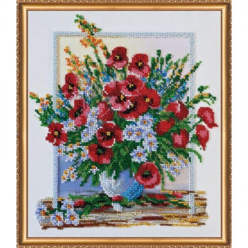 Bouquet Flowers Bead Embroidery kit Beadwork Beaded Embroidery Kit DIY