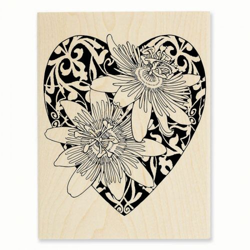 R244 Passion Heart Rubber Stamp - A stylized heart with Passion Flowers offers a gorgeous way to send a greeting for Wedding or Valentines day.