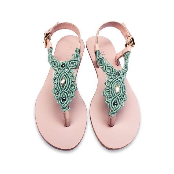 Aquamarin und Rosa Leder flache Sandale / Sommer Sandale von Sheeso
