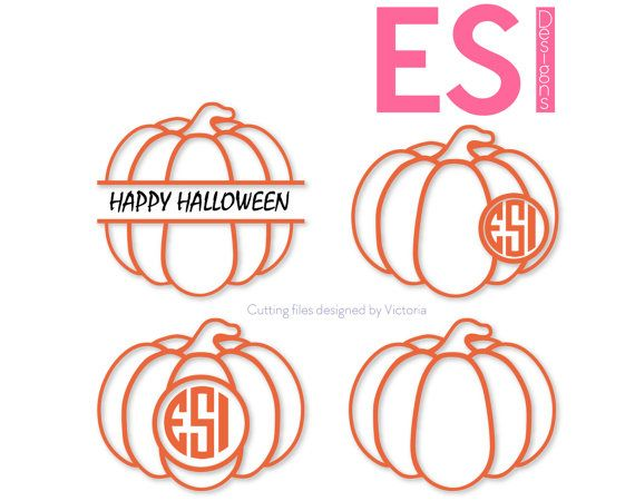Pumpkin SVG, DXF, EPS, circle monogram cutting files bundle. Pumpkin outline, for use with Silhouette Studio and Cricut Design Space. by ESIdesignsdigital