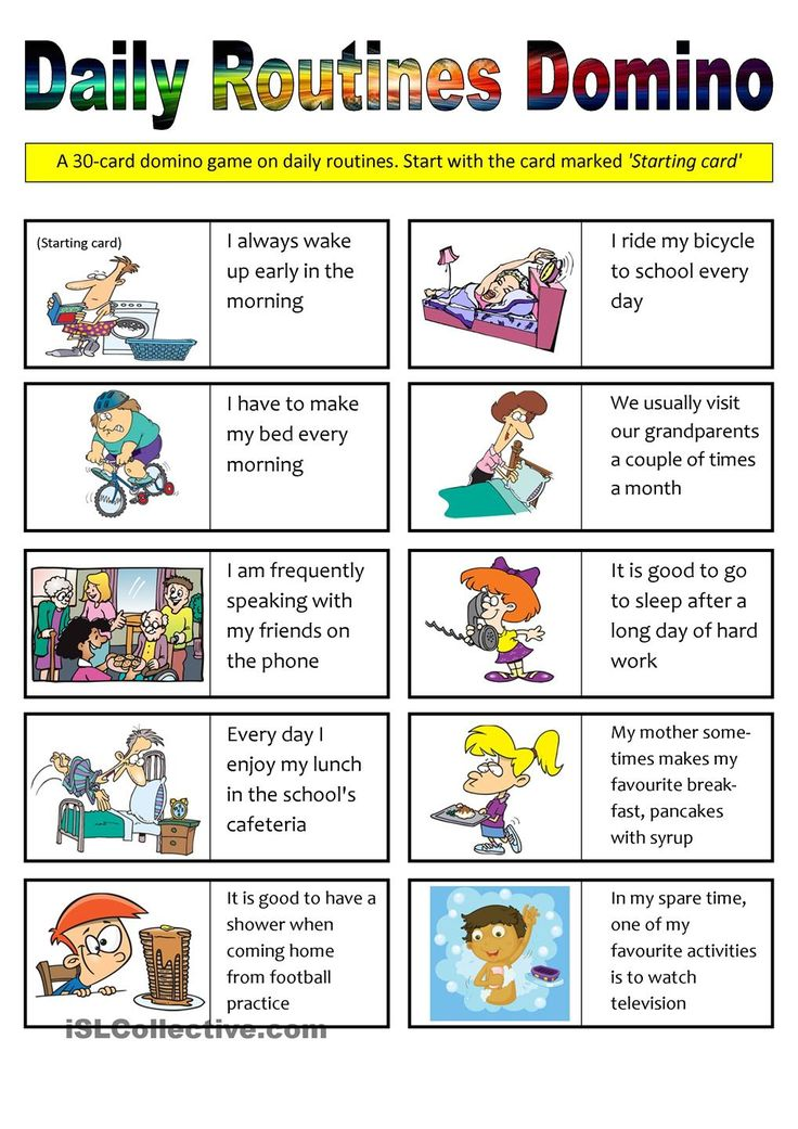 students daily routine This worksheet is appropriate for elementary students it is useful for talking about students' daily routine activities good luck.
