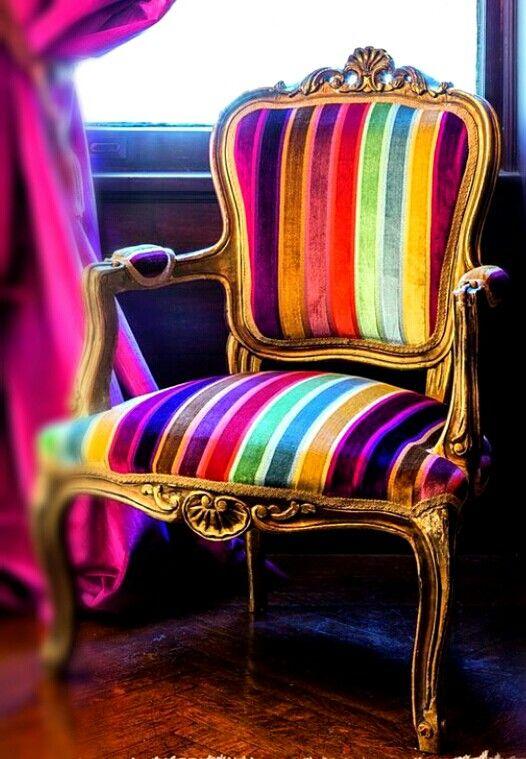 Rainbow striped chair
