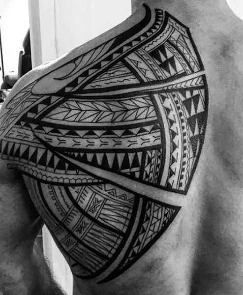 Back Of Shoulder Large Maori Tribal Tattoo For Guys