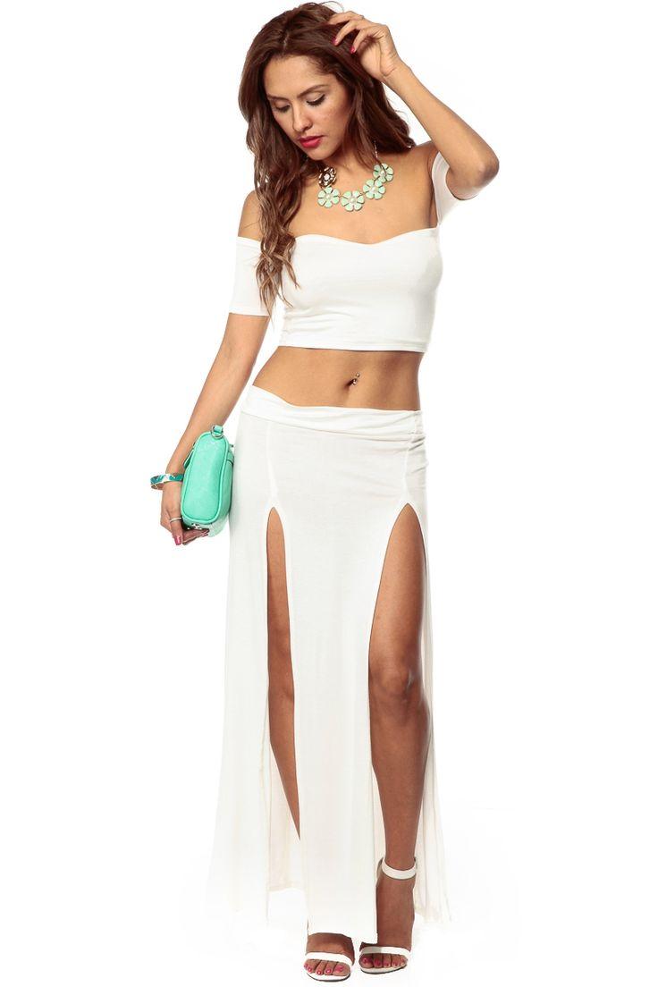 White Off Shoulder Double Slit Maxi Dress Set Cicihot