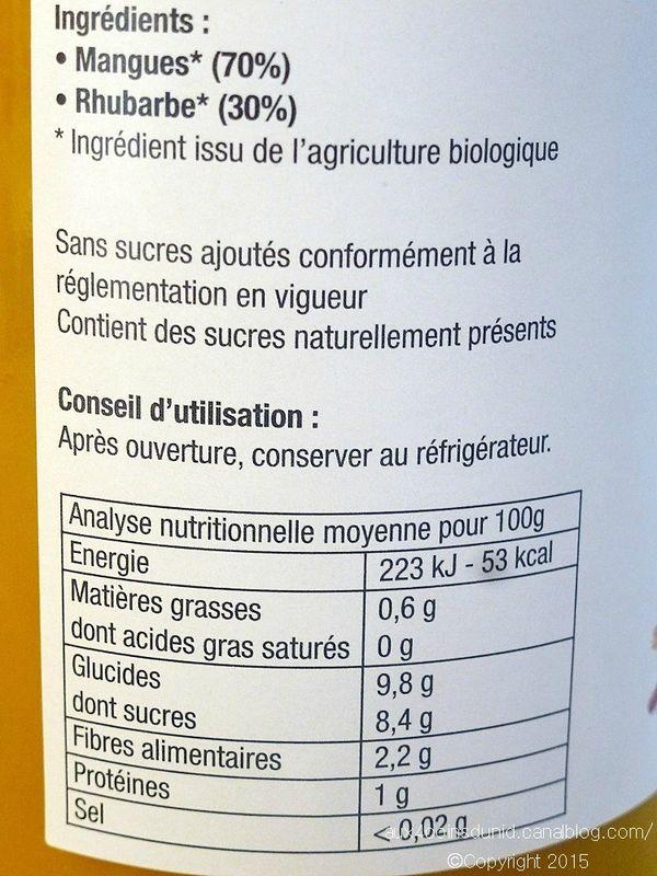 Purée mangue rhubarbe de Les Côteaux Nantais