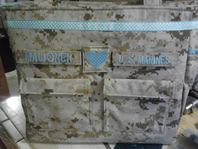 Marine diaper bag military camo diaper bag your choice words colors trims woodland or desert marine fabric custom personalized for you by bythebayoriginals on Etsy