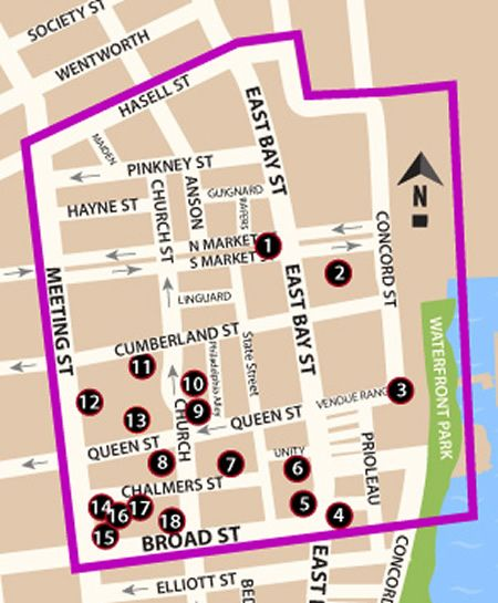 Map of the 'French Quarter' District in Charleston SC.                                                                                                                                                                                 More