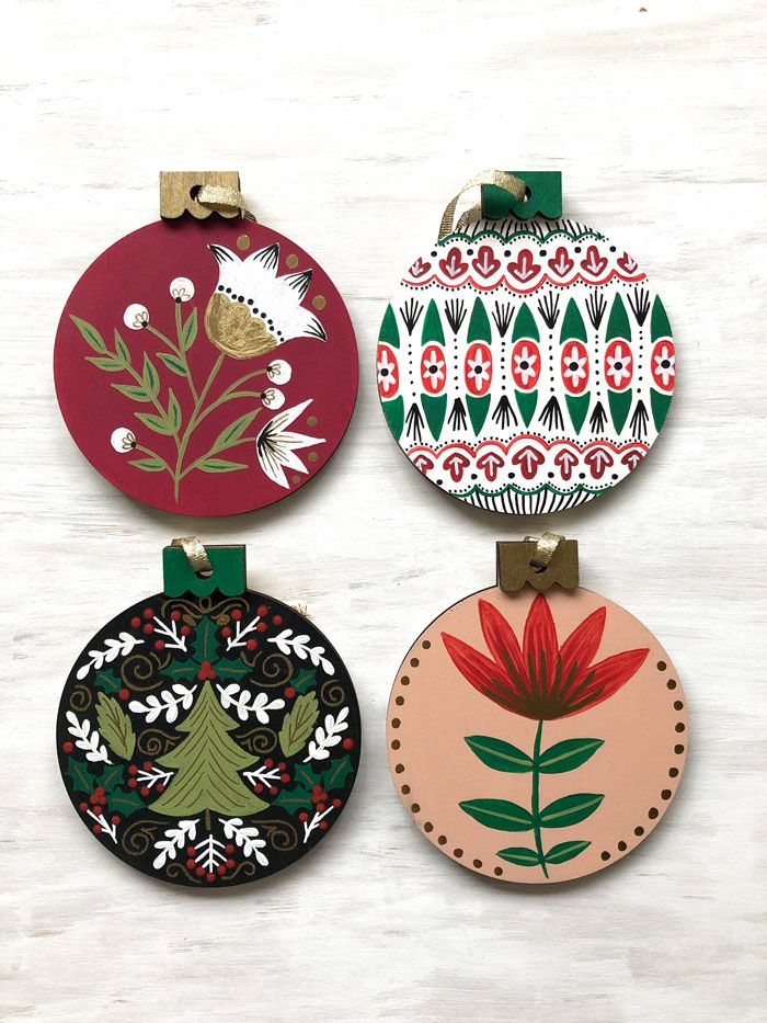 Hand Painted Folk Art Floral Wood Christmas Ornaments With Acrylic Paint On The Mark Painted Christmas Ornaments Christmas Ornaments Wood Christmas Ornaments