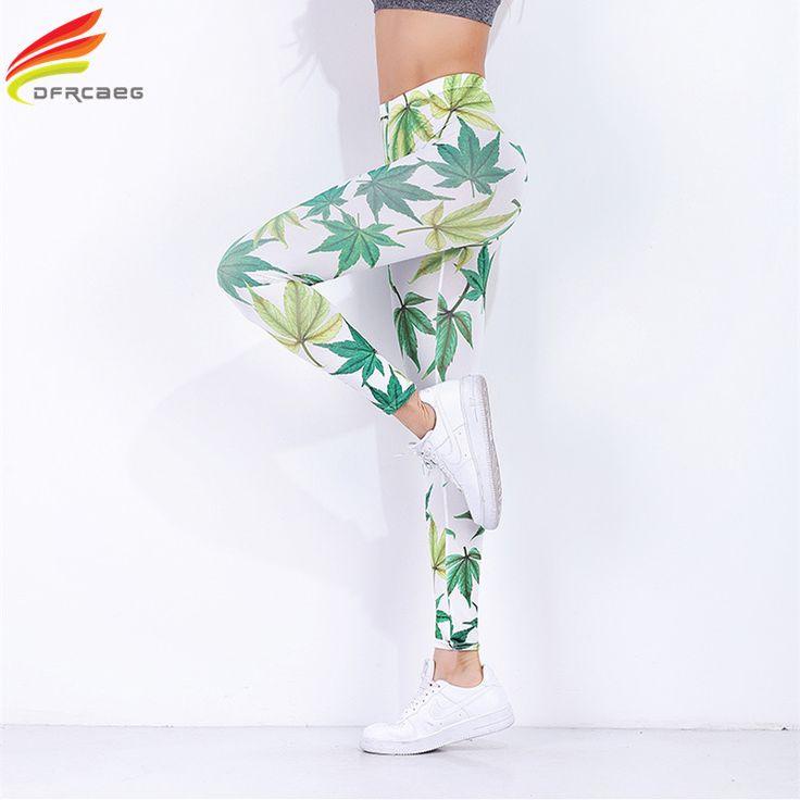 DFRCAEG New Women Pants 2017 Fashion High Waist Skinny Sweat Pants Print Tree Leaf Full Length Pantalones Mujer Femme Sweatpants #Affiliate