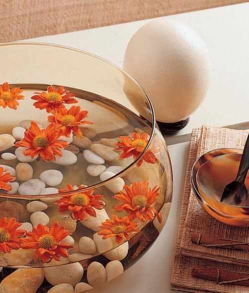25 Floating Flowers And Candles Centerpieces | Shelterness but put a colored fish in the bowl too!