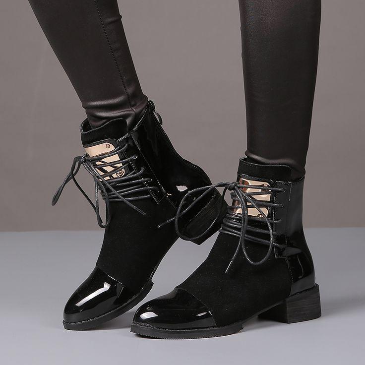 Aliexpress.com: Comprar 35 43 Mujeres Botas de Cuero Genuino botas Planas Martin Zapatos Botines Para Mujer Botas de Moto de Otoño Invierno de Las Mujeres de charol Botas de talón del perno prisionero fiable proveedores en Magic Town
