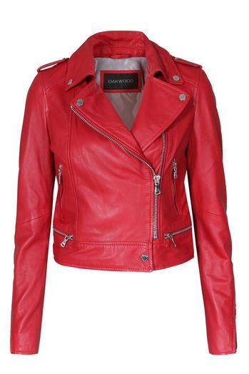 Oakwoood Biker Lederjacke Damen in Rot