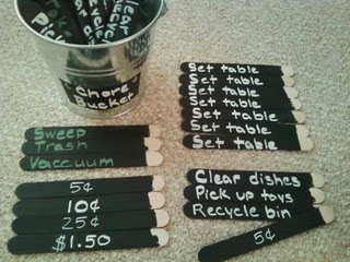 I love this idea of the chore bucket list. I would make a bucket for each kid then at the end of the week count up the money they earned. Great idea.
