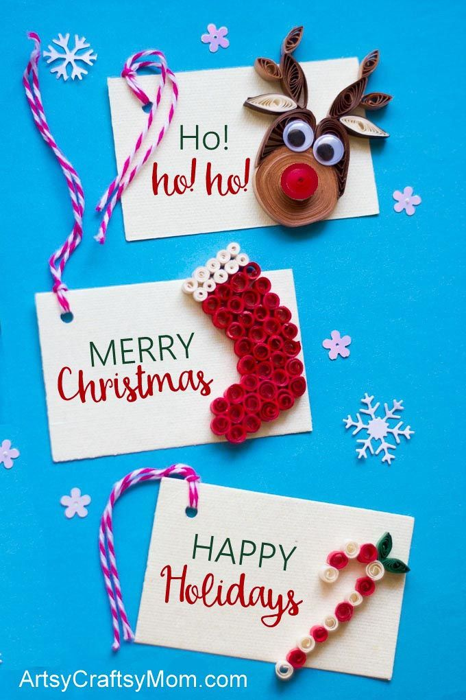 These adorable quilled Christmas tags are the perfect handmade touch for your holiday presents this year! Try the reindeer, stocking or candy cane themes!