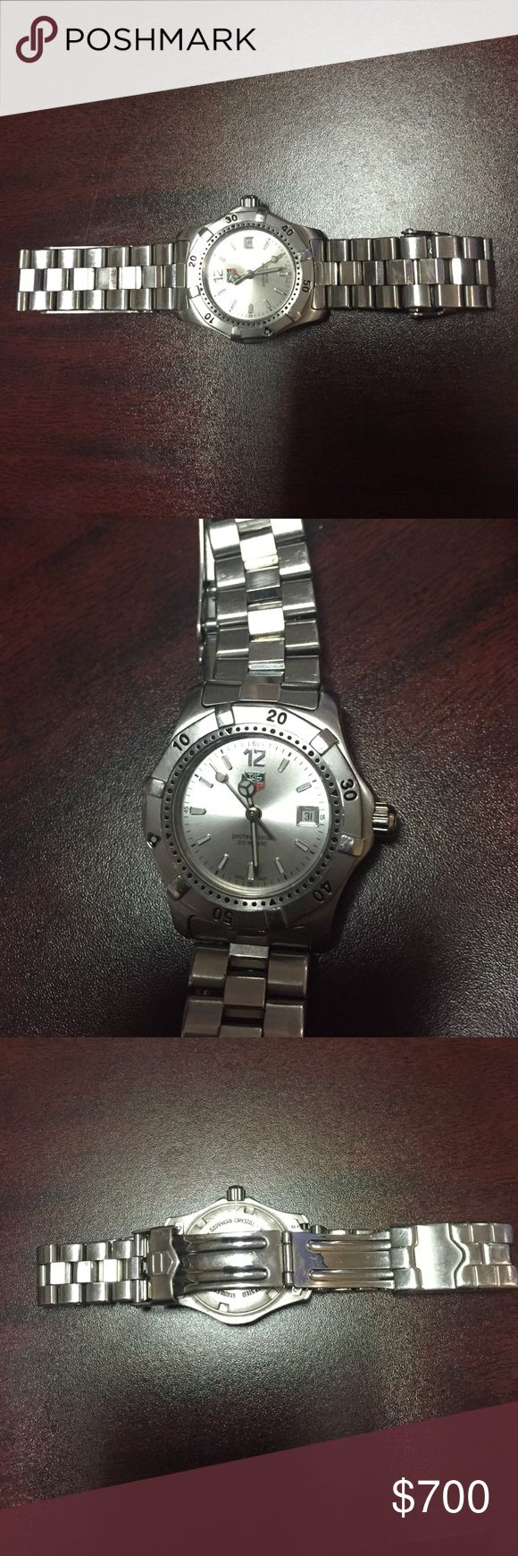 🎉FINALPRICE🎉Lds Tag Heuer Professional ⚡️⚡️CHECKITOUT⚡️⚡️Great classic ladies Tag Heuer Professional Watch in great condition. Very little wear, some scratches on case back and very small light scratches on band. Crystal in perfect condition. Really very durable and versatile. Tag Heuer Accessories Watches