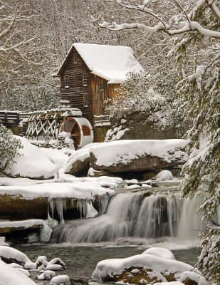 Glade Creek Grist Mill After Snow Storm.  Photo By steven rotsch