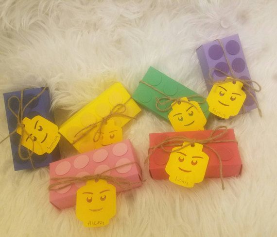 Lego Block treat boxes with Lego head tag