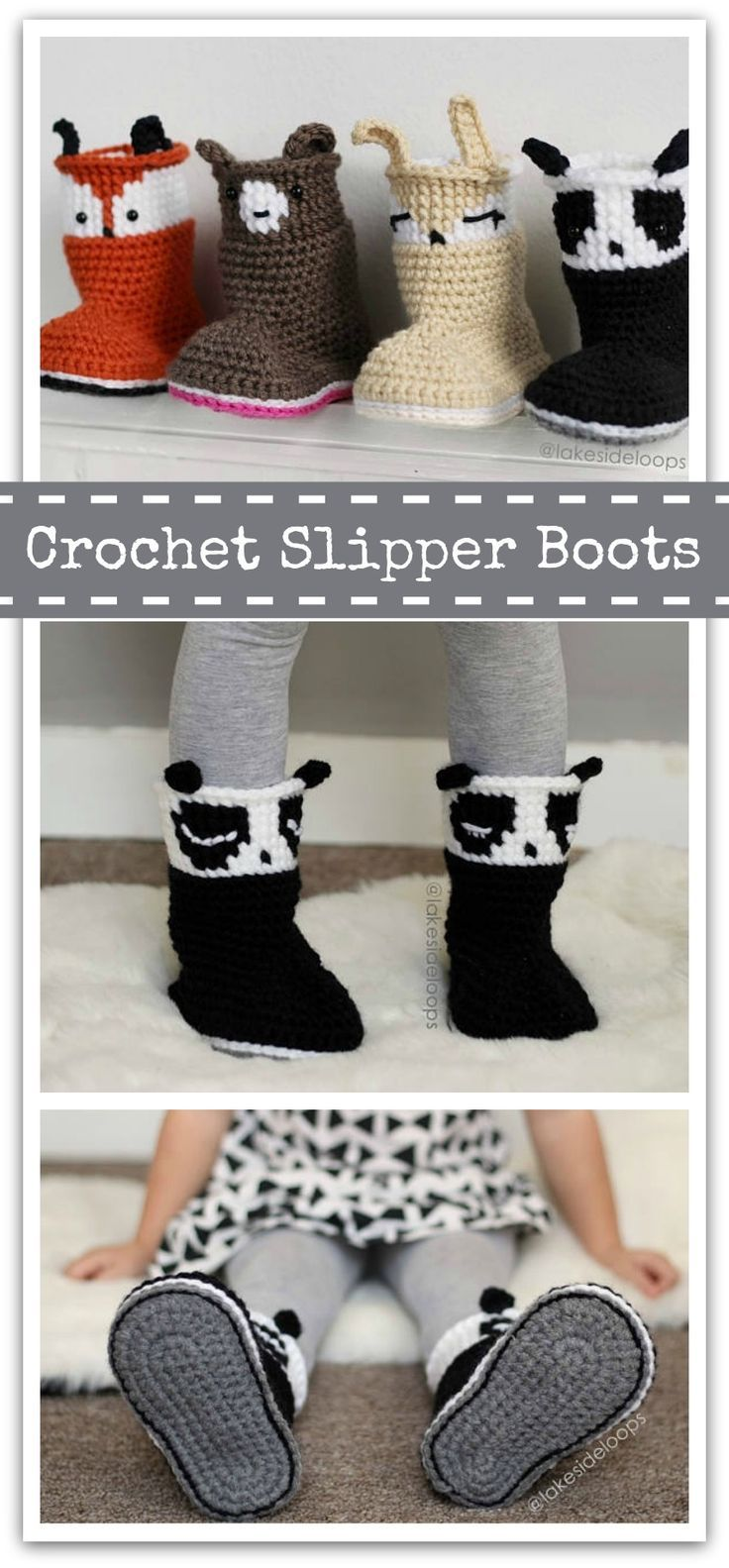 Crochet Pattern - Bailey Slipper Boots/Booties - makes sizes Baby - Kids - Instant PDF download #ad #affiliate