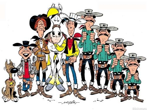 Lucky luke, the daltons, jolly jumper, calamity jane and billy the kid