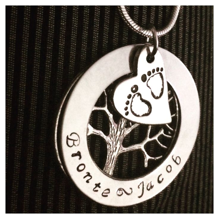 Baby feet and family tree Personalized Hand Stamped Necklace by Giftitright on Etsy