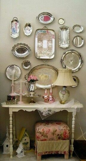 Like the placement of trays on wall display.