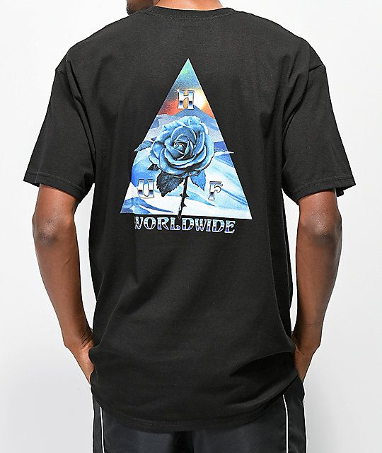 e276056e484a HUF Ice Rose Triangle Black T-Shirt in 2019 | Shirts | Shirts, Huf ...