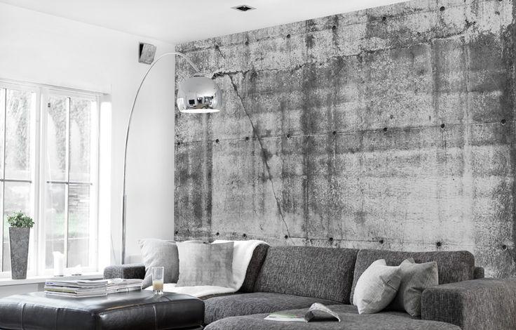 59 beste afbeeldingen over behang op pinterest betonmuren fabrieken en muurschilderingen - Deco woonkamer behang ...