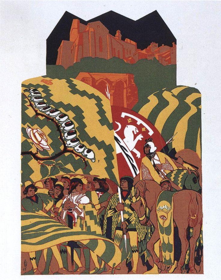 Duilio Cambellotti. Comparsa della Contrada del Bruco (1932). Su  http://www.flickr.com/photos/iltesorodisiena/8289698402/in/photostream/lightbox/