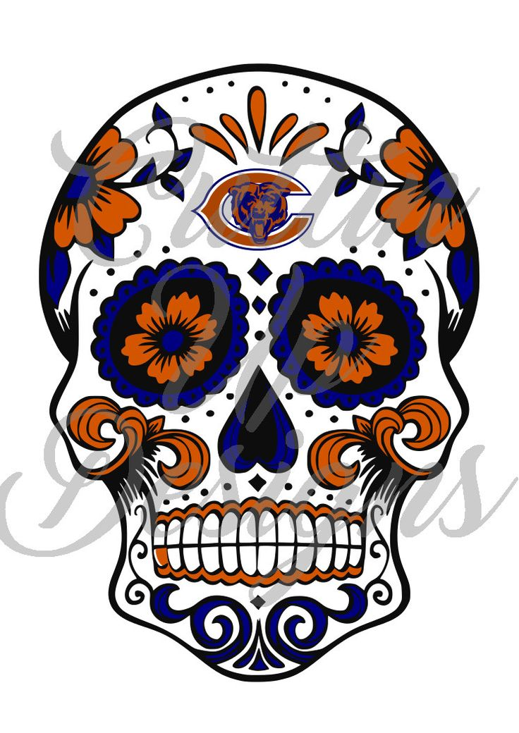 Chicago Bears Sugar Skull Day of the Dead Football SVG Cutting File for Cricut Cameo (Designer Edition) Easy to Cut Easy to layer by CuttinUpGifts on Etsy