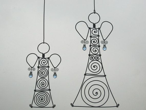 Metal Ornaments / A Pair Of Wire Angels In Blue / by MyWireArt