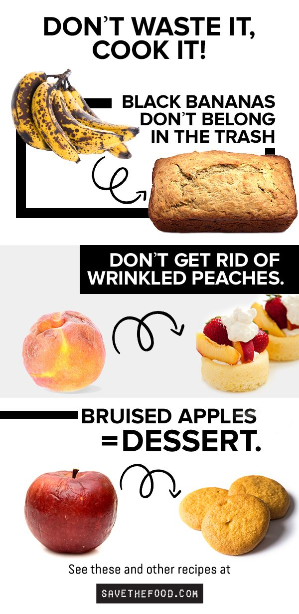 It's okay for fruit to bruise, brown and wrinkle. Really. It doesn't mean it's gone bad. Food lasts longer than we think. Visit SaveTheFood.com for more recipes on how you can use up ingredients, like the bruised banana, in your fridge.