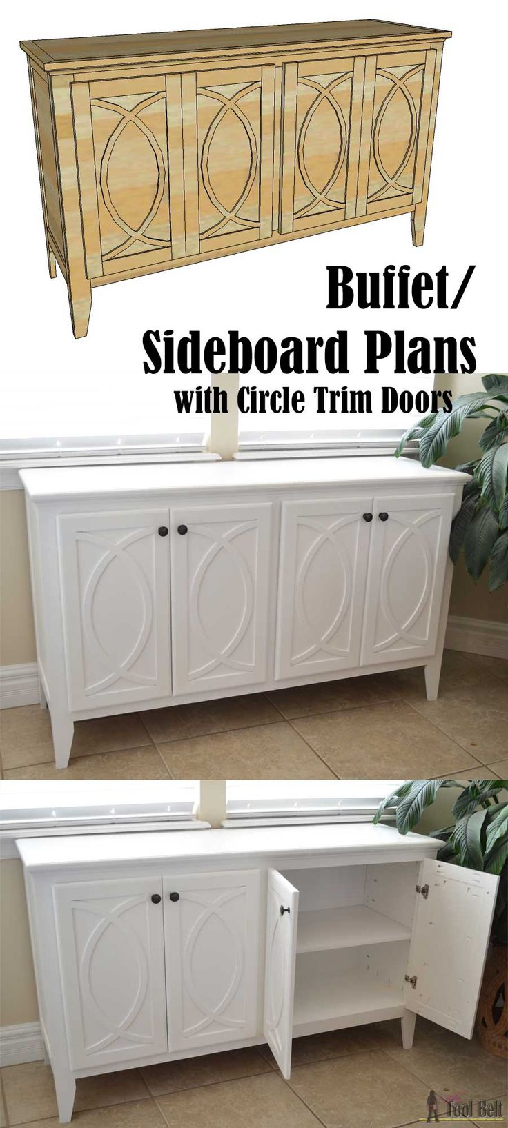 DIY Buffet or Sideboard with circle trim doors. This buffet cabinet boasts plenty of dining/kitchen supply storage. Free building plans.