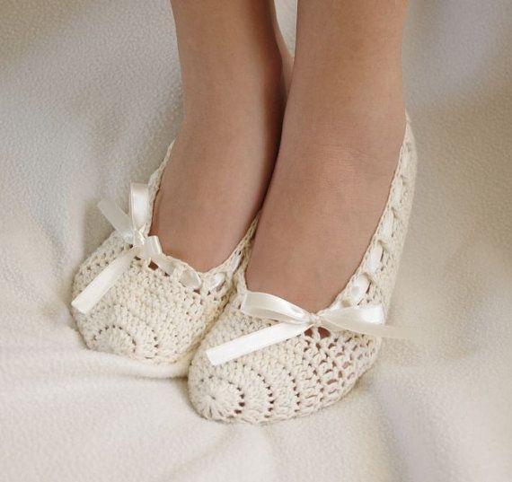 white crocheted slippers