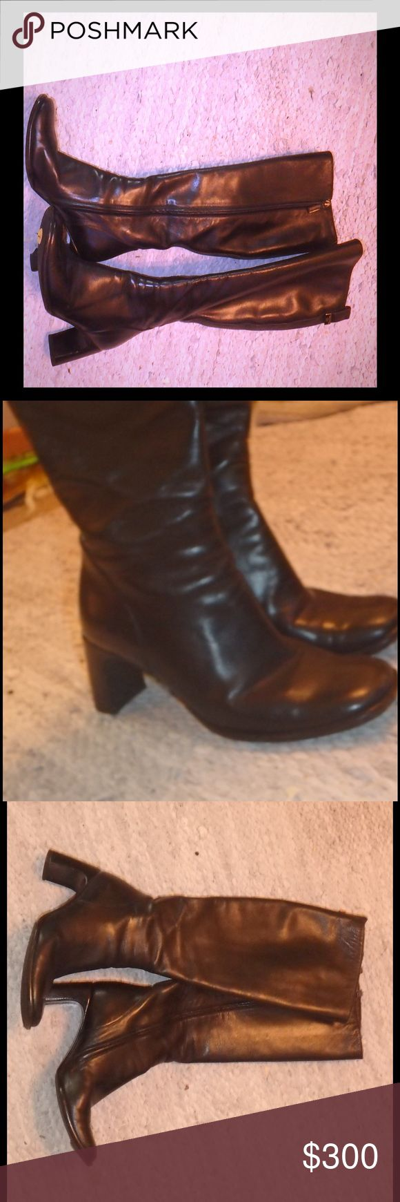 Gucci boots! Authentic black leather tall boots! These are authentic, no box size 7.5 with Gucci metal plate logo above back zipper. Heels are black wood, and unique. The toes are slightly squared off. They are simply stunning. More info and pics to come... I wanted to list these ASAP before I can do more research and post better pics. Today only I am pricing them super low due to the lack of info... the price will go up as soon as I get better pics and post more info so take advantage of…
