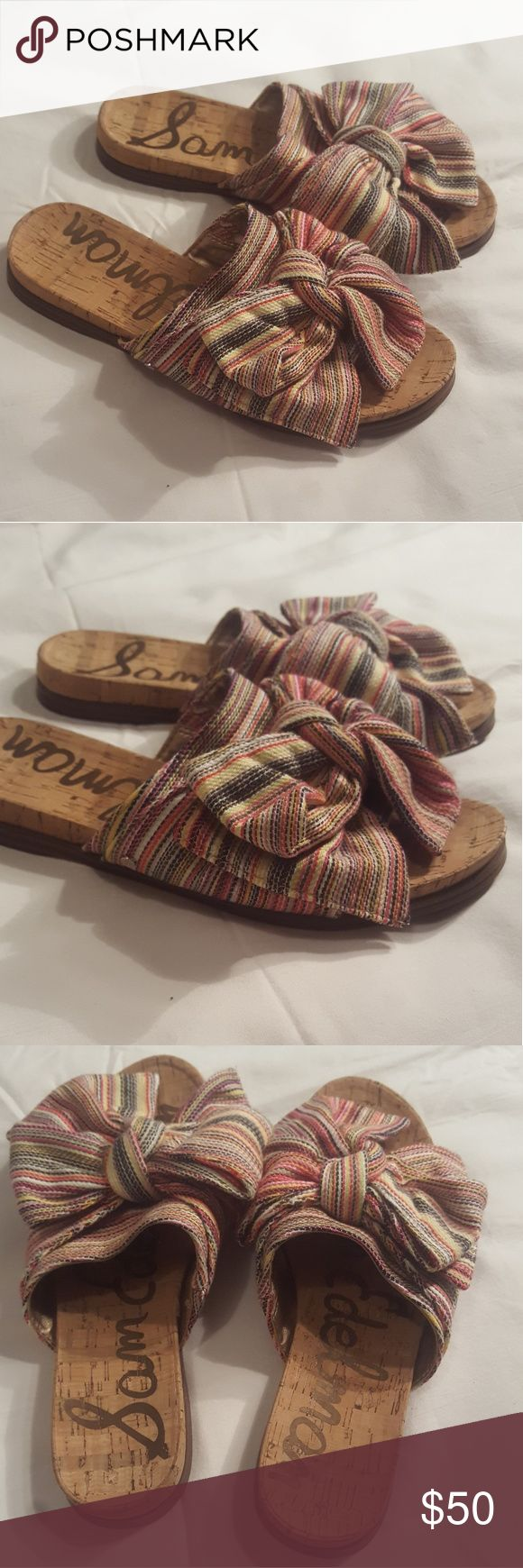 Sam Edleman Henna Striped Bow Slides Only worn once! Pics reflect this..! See photos! Feel free to message me with any questions and check out my other items!👚👜🛍👗👠 Sam Edelman Shoes Sandals