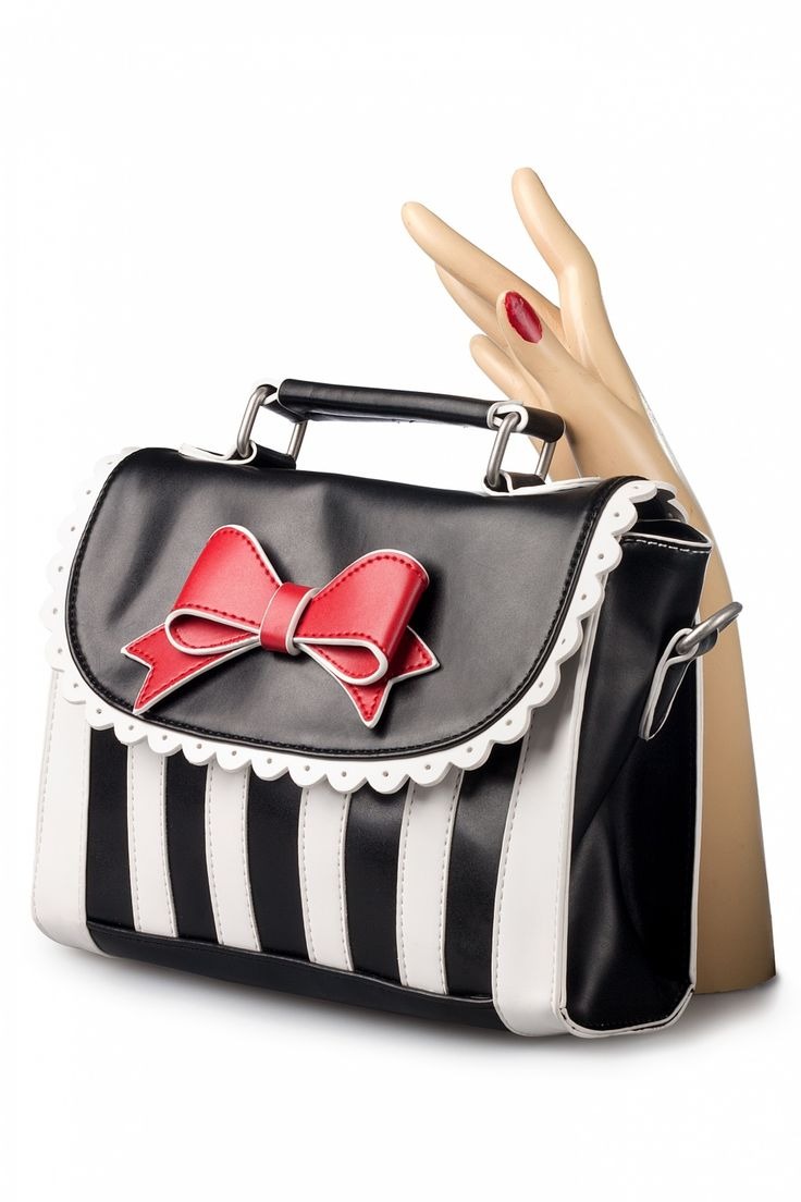 Lola Ramona - Girly Black White Striped Red Bow handbag shoulder bag #topvintage