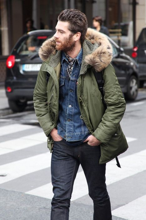 Chamarra de invierno, double denim.