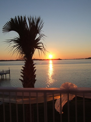 Sunset at the Tampa Bay Watch waterfront wedding venue in St. Petersburg, Florida
