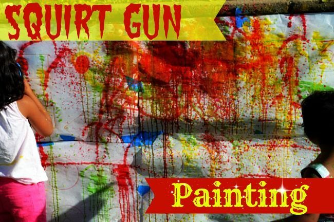 Art activities for summer : Squirt gun painting