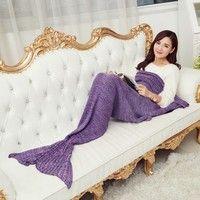 Wish | Knitting Handmade Air-conditioning Plush Mermaid Tail Shape Sofa Blanket