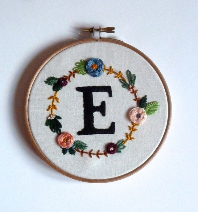 """Custom 5"""" monogram embroidery hoop with floral surround  £25.00"""