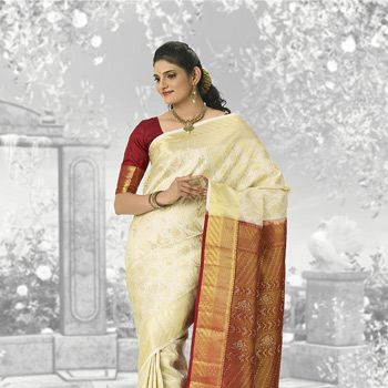Off White and Maroon Pure kanchipuram Handloom Silk Saree with Blouse