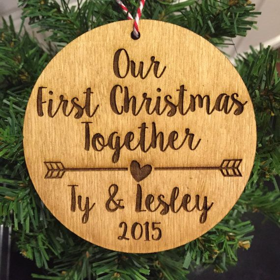 Our First Christmas Together Wood Ornament - Personalized with Arrow and Couple's Names and Year, Stained and Laser Engraved, Custom Design