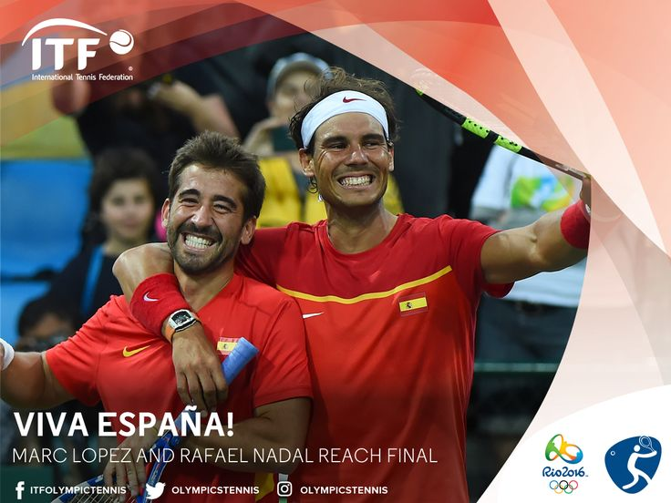 Spain's Marc Lopez Tarres & Rafael Nadal In GOLD medal men's doubles at #Rio2016 #OlympicTennis via ITF Olympic Tennis ·