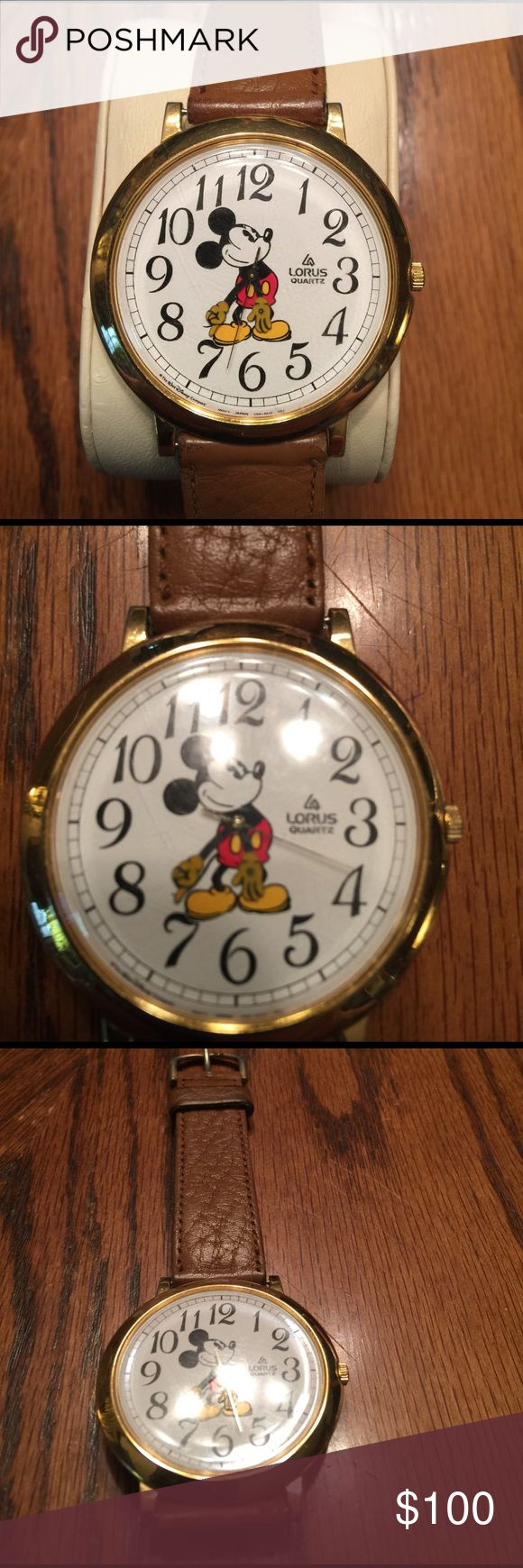 Lotus Mickey Mouse watch yellow tone Larger Lorus Mickey Mouse Watch With Brown Genuine Leather Strap Lorus mickey Mouse Quartz Other