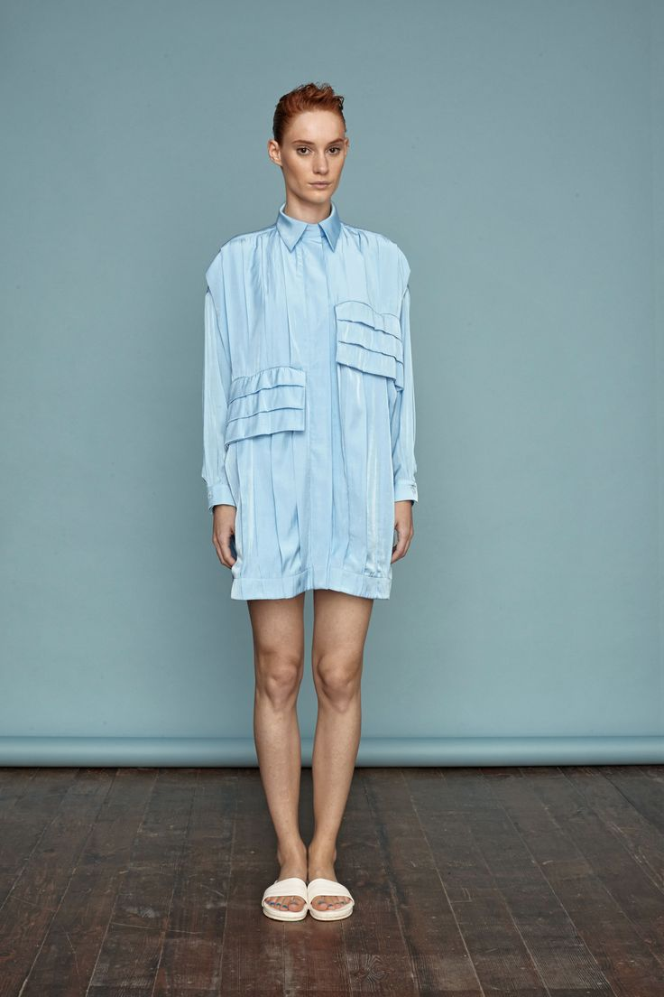 Light blue shirt dress with oversized pockets. #doritomcsanyi #ss15 #lookbook #collection #lightblue