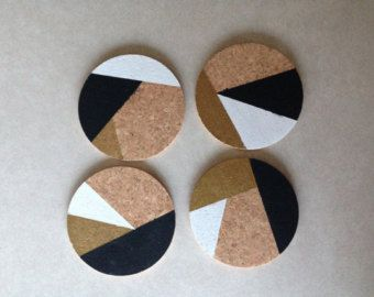 Black Gold White Abstract 4 Square Cork Coasters by CorkCoasters