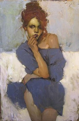 Malcolm Liepke - 'The Grey Dress' - Telluride Gallery of Fine Art
